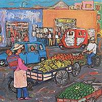 'Smells Like Summer Fruits' - Peruvian Cityscape Painting Multicolor Naif Style Signed Art