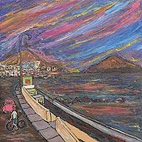 'San Bartolo Diurnal' - Cityscape at Dawn Signed Painting from Peru Art