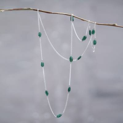 Amazonite station necklace, 'Fresh Foliage' - Long Sterling Silver Station Necklace with Amazonite Beads