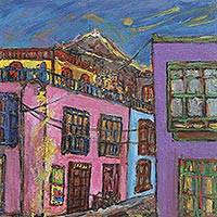 'Nocturnal de Barrios Altos' - Peruvian Cityscape by Night Signed Painting Fine Arts