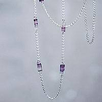 Tourmaline station necklace, 'Spaces' - Long Sterling Silver Station Necklace with Lilac Tourmaline
