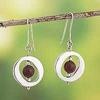 Carnelian dangle earrings, 'Oval Window' - Contemporary Free Trade Silver and Carnelian Earrings