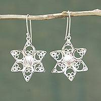 Sterling silver filigree earrings, 'Quechua Stars' - Sterling Silver Filigree Earrings with Copper Accents
