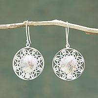 Sterling silver filigree earrings, 'Quechua Crowns' - Filigree Sterling Silver Earrings with Copper Accents