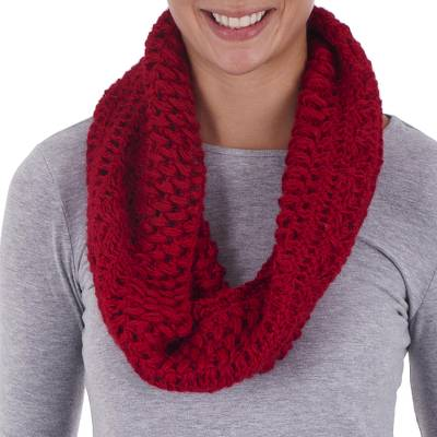 100% alpaca neck warmer, 'Jungle Rose' - Alpaca Neck Warmer Knitted and Croched by Hand