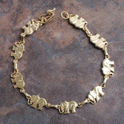 Gold plated link bracelet, 'Elephant Dignity' - 18k Gold Plated Sterling Silver Bracelet with Elephant Links
