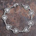 Sterling Silver Bracelet with Heart Links from Peru, 'Dignified Heart'
