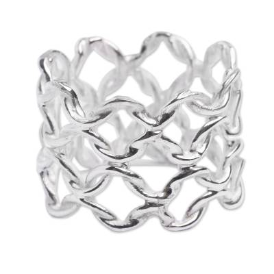 Sterling silver band ring, 'Boldly Elegant' - Andean Silver Ring Wide Band Chain Mail Pattern from Peru