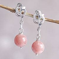 Pink opal dangle earrings, 'Nature's Ode'