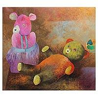 'Toyz for Rross' - Painting Children's Teddy Bears and Ball from Peru