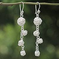 Sterling silver dangle earrings, 'Knitting' - Modern Sterling Silver Artisan Crafted Dangle Earrings