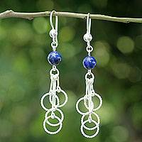 Lapis lazuli dangle earrings, 'Ring Chimes' - Andean Handcrafted Sterling Earrings with Lapis Lazuli