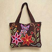 Wool shoulder bag, 'Earthen Butterfly' - Handcrafted Peruvian Embroidered Shoulder Bag