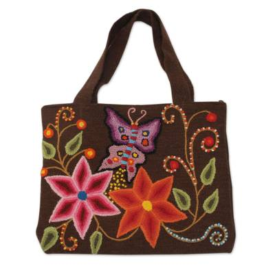 Novica Wool shoulder bag, Earthen Butterfly