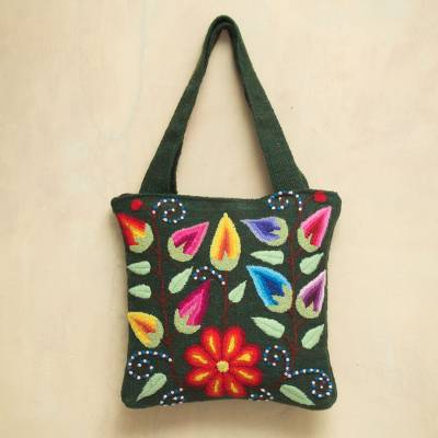Wool shoulder bag, 'Floral Fiesta' - Artisan Crafted Wool Embroidered Shoulder Bag