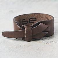 Leather wristband bracelet, 'Nazca Brown' - Brown Quality Leather Wristband Bracelet for Women