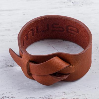 Leather wristband bracelet, 'Nazca Tan' - Tan Brown Leather Wristband Handmade Bracelet for Women