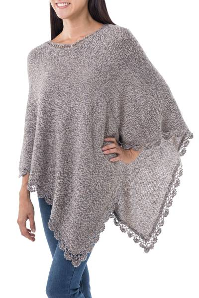 Alpaca blend poncho, 'Inca Solstice' - Alpaca Blend Mottled Grey White Beige with Crochet Borders
