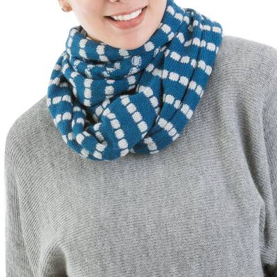 Alpaca blend infinity scarf, Parallel Blue