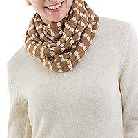 Alpaca blend infinity scarf, 'Parallel Brown' - Tan and Beige Infinity Scarf Knitted Alpaca Blend