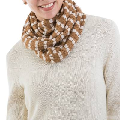 Alpaca blend infinity scarf, Parallel Brown