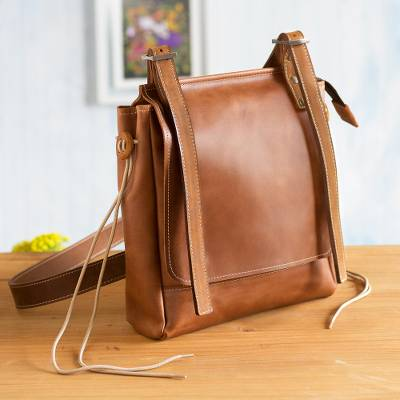 Leather messenger bag, Basic Cinnamon Style