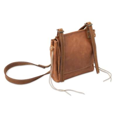 Leather messenger bag, 'Basic Cinnamon Style' - Handcrafted Brown Leather Messenger Bag Purse from Peru