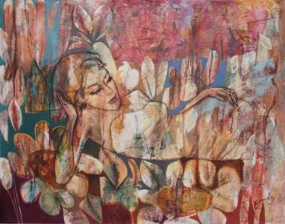 'Sweet Life' (2015) - Painting of Sleeping Woman and Flowers Signed Peru Art