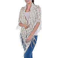 100% alpaca shawl, 'Piura Fans' - Hand Crocheted Alpaca Shawl Ivory Color Wrap from Peru