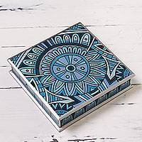 Reverse painted glass box, 'Blue Inca Emblem' - Blue and Silver Reverse Painted Glass Decorative Box