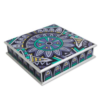 Reverse painted glass box, 'Purple Inca Emblem' - Peru Decorative Purple and Silver Reverse Painted Glass Box