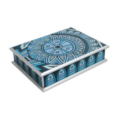 Reverse painted glass box, 'Turquoise Inca Emblem' - Artisan Crafted Reverse Painted Glass Box in Turquoise