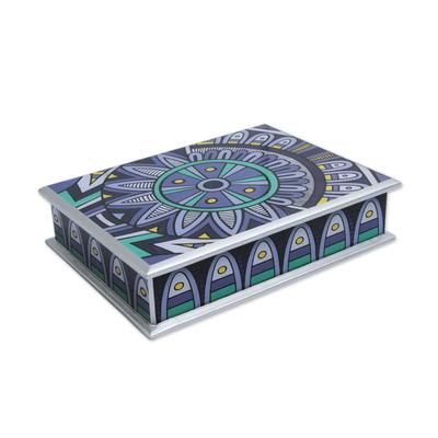 Reverse painted glass box, 'Purple Inca Sunflower' - Reverse Painted Glass Decorative Box with Silver Gilt Trim