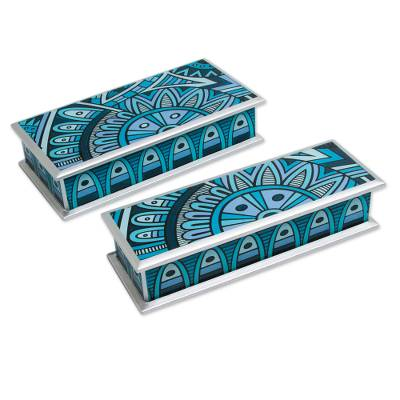 Reverse painted glass boxes, 'Azure Dawn' (pair) - 2 Blue and Turquoise Reverse Painted Glass Boxes from Peru