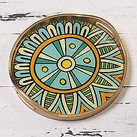 Reverse painted glass tray, 'Sunny Inca Medallion' - Yellow Andean Circular Reverse Painted Glass Tray