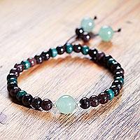 Garnet and aventurine stretch bracelet, 'Amazon Passion' - Handcrafted Andean Garnet and Aventurine Stretch Bracelet