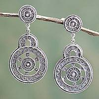 Sterling silver filigree earrings, 'Love Goes Around' (oxidized) - Ornate Peruvian Oxidized Sterling Filigree Earrings