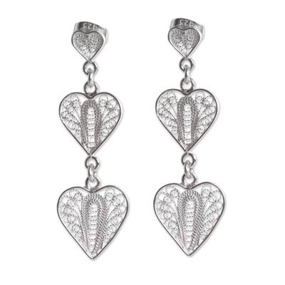 Sterling silver filigree dangle earrings, 'Three Hearts' - Handcrafted Filigree Heart Theme Silver Earrings