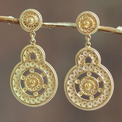Gold vermeil filigree earrings, 'Love Goes Around' - Andean Gold Vermeil Filigree Earrings Crafted by Hand