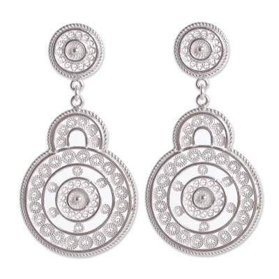 Sterling silver filigree earrings, 'Love Goes Around' - Ornate Peruvian Sterling Filigree Earrings