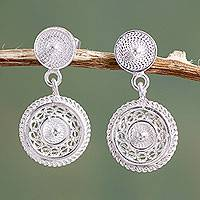 Sterling silver filigree dangle earrings, 'Beautiful Fantasy' - Classic Andean Filigree Sterling Silver Earrings