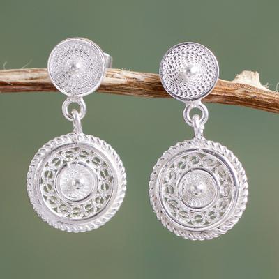 Sterling silver filigree dangle earrings, 'Beautiful Fantasy' - Classic Andean Filigree Sterling Silver Earrings