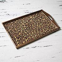 Glass tray, 'Golden Leopard Kingdom' - Hand Crafted Tray in Reverse Painted Glass Leopard Print