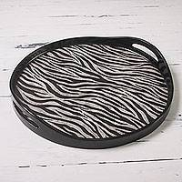 Glass tray, 'Zebra Kingdom' - Zebra Print Round Tray Reverse Painted Glass and Wood