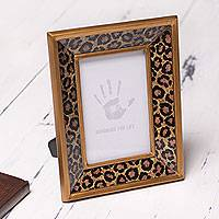 Glass photo frame, 'Golden Leopard Kingdom' (4x6) - Photo Frame in Reverse Painted Glass Leopard Print (4x6)