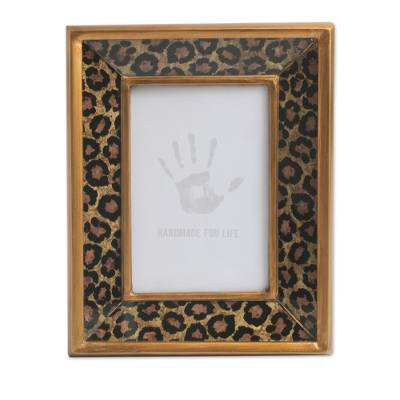 Photo Frame in Reverse Painted Glass Leopard Print (4x6) - Golden ...