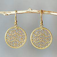 Gold plated filigree earrings, 'Natural Energy'