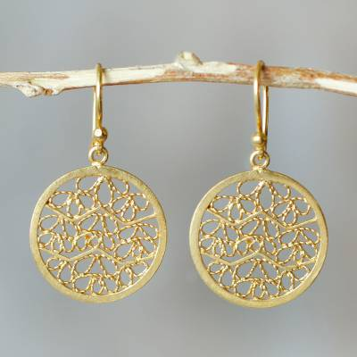 Gold plated filigree earrings, Natural Energy