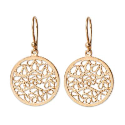 Gold plated filigree earrings, 'Natural Energy' - Filigree Gold Plated Sterling Silver Earrings