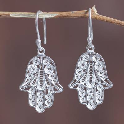 Sterling silver filigree dangle earrings, 'Hamsa Symbol' - Artisan Crafted Sterling Filigree Hamsa Symbol Earrings